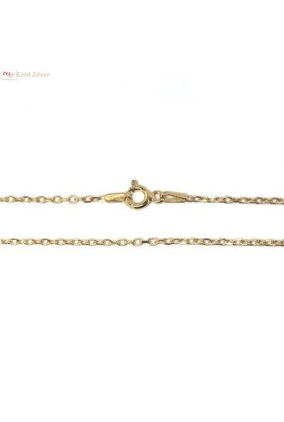 Goud op zilver kabel ketting 50 cm 1 mm