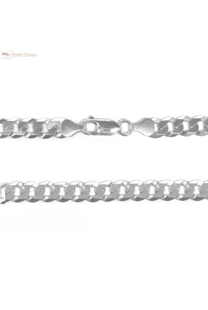 Zilveren platte gourmet ketting 7 mm breed 50 cm lang