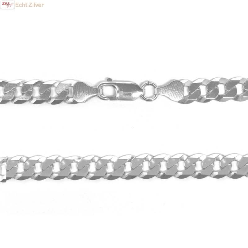 Zilveren platte gourmet ketting 7 mm breed 50 cm lang-1