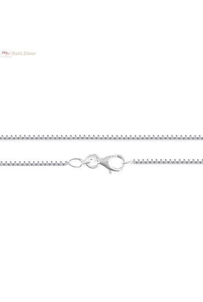 Zilveren box Venetiaan ketting 50 cm 1.1 mm