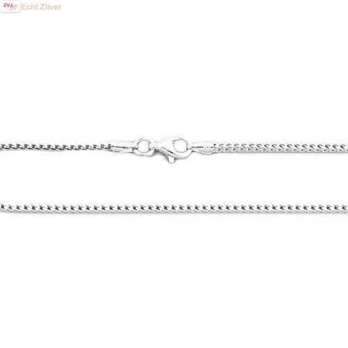 ZilverVoorJou Zilveren foxtail ketting 50 cm 1.5 mm