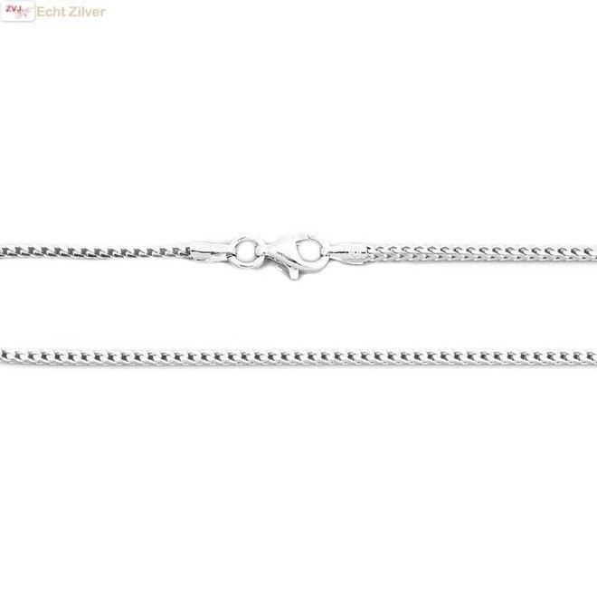 Zilveren foxtail ketting 50 cm 1.5 mm