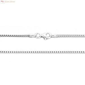 ZilverVoorJou Zilveren vierkante slang ketting 50 cm geoxideerd