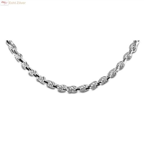 ZilverVoorJou Zilveren massieve rope ketting 50 cm en 5.6 mm breed