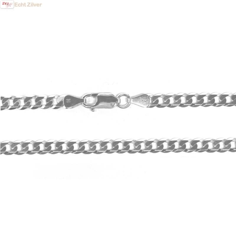 Zilveren platte gourmet ketting 5 mm breed 55 cm lang-1