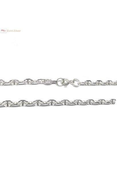 Zilveren anker schakel ketting 55 cm 4 mm breed