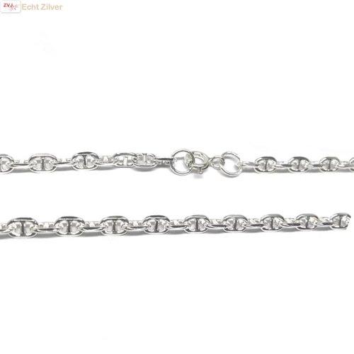 ZilverVoorJou Zilveren anker schakel ketting 55 cm 4 mm breed