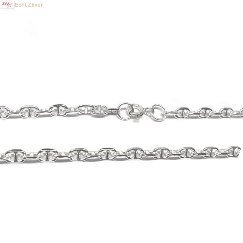 Zilveren anker schakel ketting 55 cm 4 mm breed-1