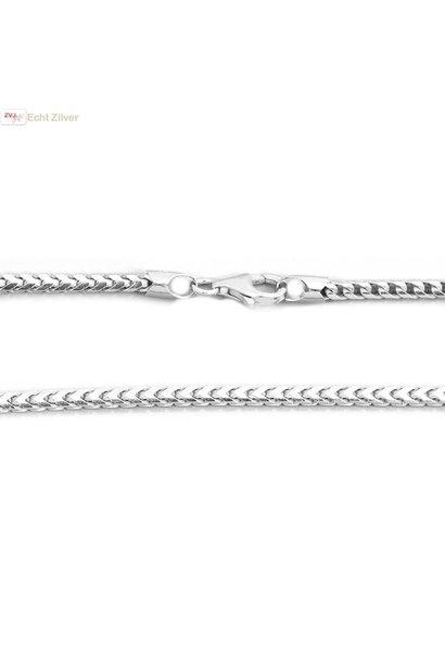 Zilveren foxtail ketting 55 cm 2.5 mm