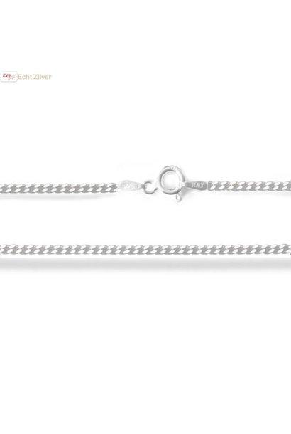 Zilveren gourmet ketting 55 cm lang 1.7 mm breed
