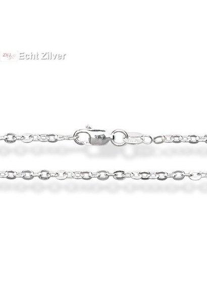 Zilveren ovale platte kabel ketting 60 cm en 1,8 mm breed