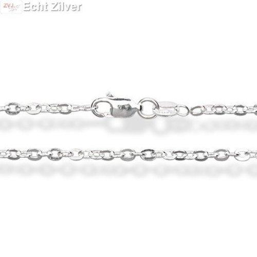 ZilverVoorJou Zilveren ovale platte kabel ketting 60 cm en 1,8 mm breed
