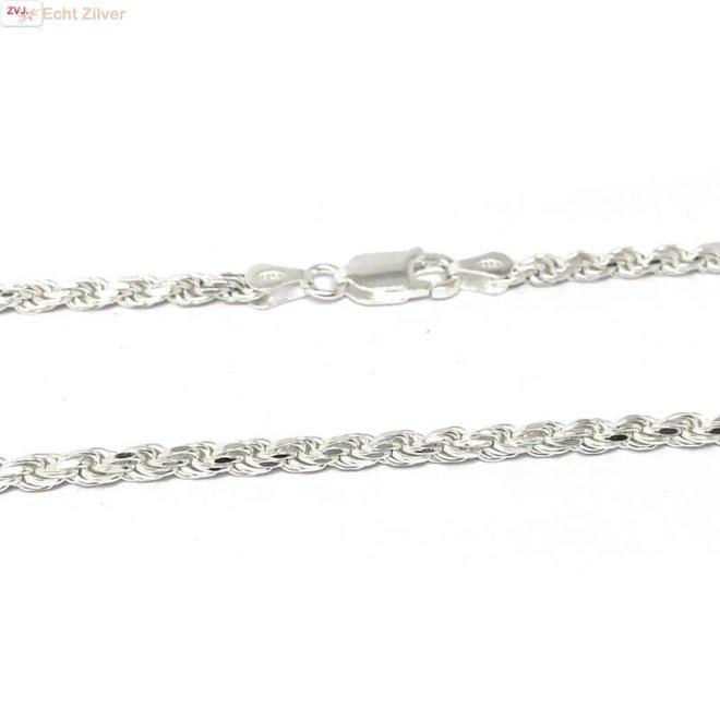 Zilveren rope ketting 55 cm 3 mm