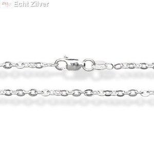 ZilverVoorJou Zilveren ovale platte kabel ketting 70 cm en 2,5mm breed