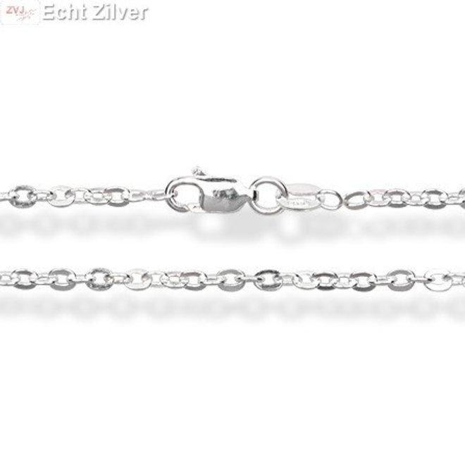 Zilveren ovale platte kabel ketting 70 cm en 2,5mm breed