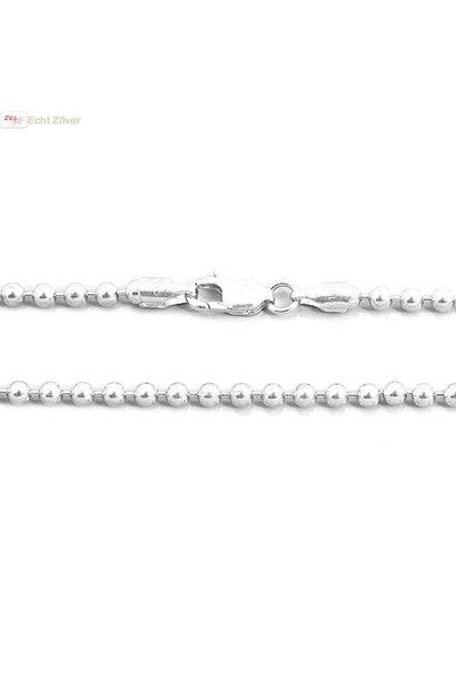 Zilveren balletjes ketting 76 cm 3 mm