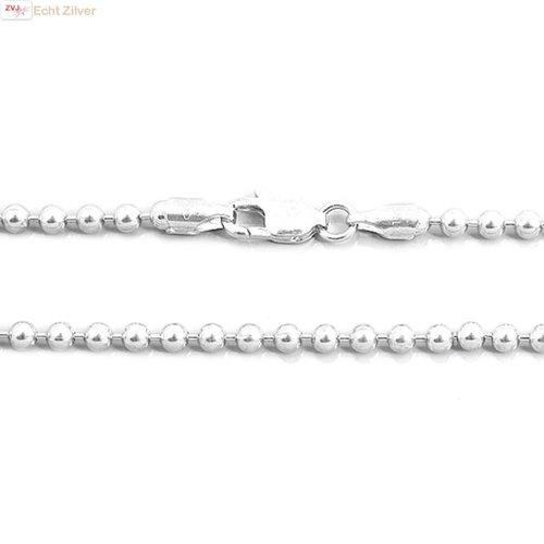 ZilverVoorJou Zilveren balletjes ketting 76 cm 3 mm
