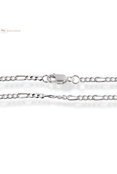 Zilveren figaro schakel ketting 80 cm 2.2 mm
