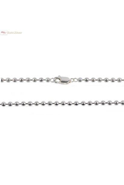 Zilveren balletjes ketting 80 cm, 2 mm dik