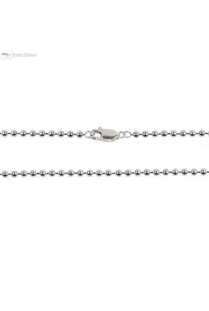 Zilveren balletjes ketting 80 cm, 1.5 mm dik