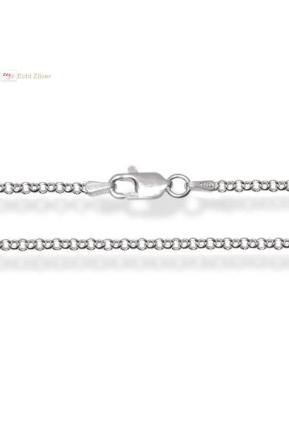 Zilveren rolo jasseron ketting 80 cm 2 mm breed