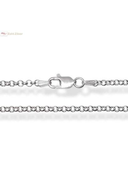 Zilveren rolo jasseron ketting 80 cm  2.4 mm breed
