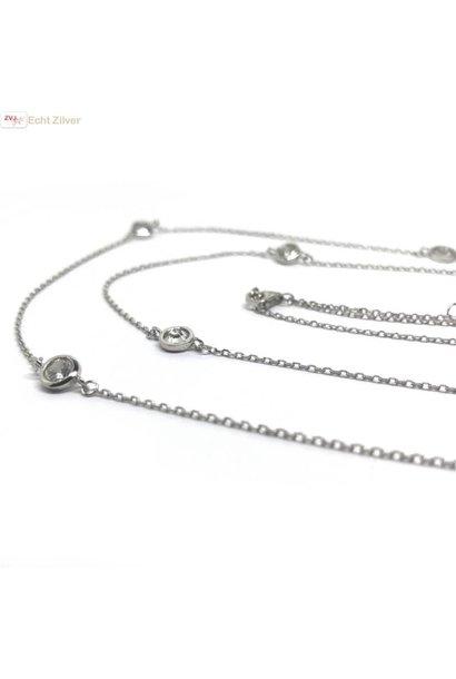 Zilveren rhodium lang collier met witte ronde zirkoon