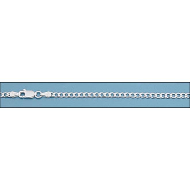 Zilveren platte gourmet ketting 60 cm 3 mm