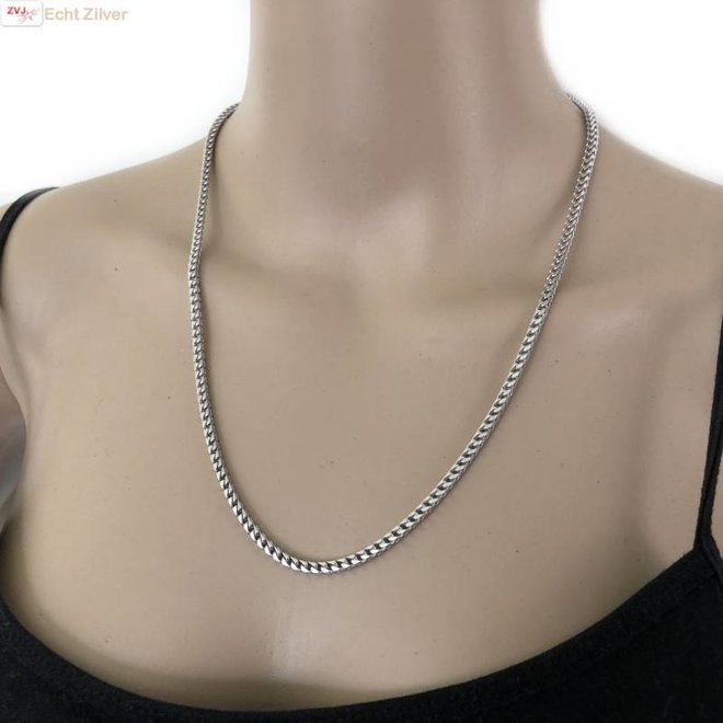 Zilveren foxtail ketting 55 cm 3  mm
