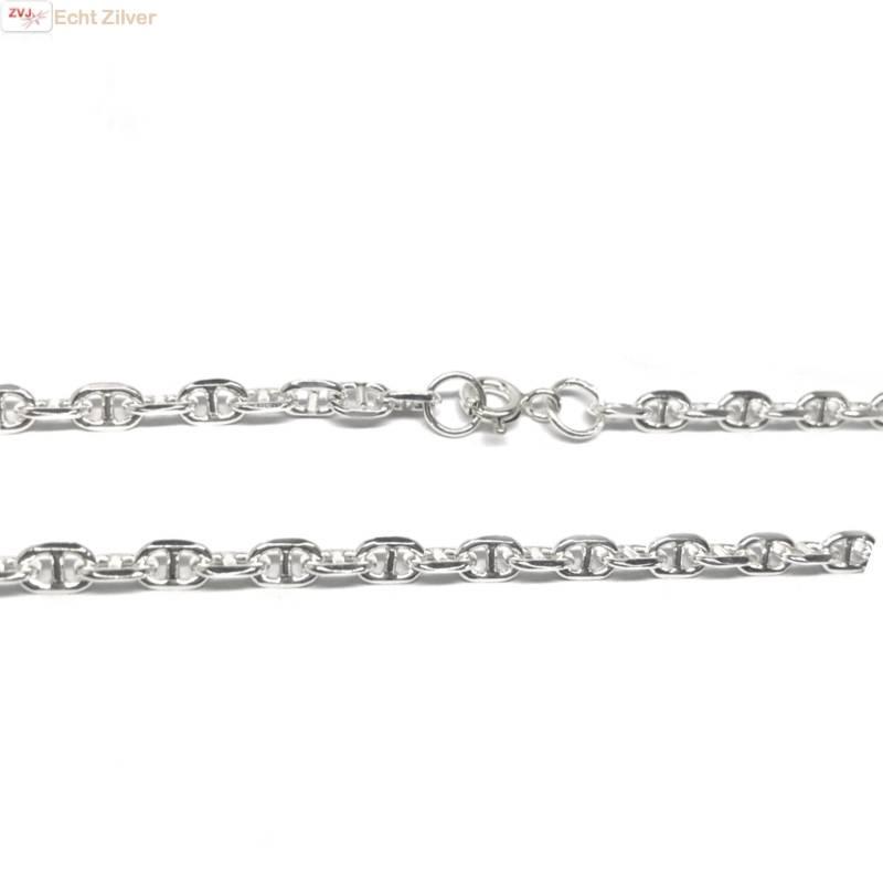 Zilveren anker schakel ketting 55 cm 4 mm breed-3