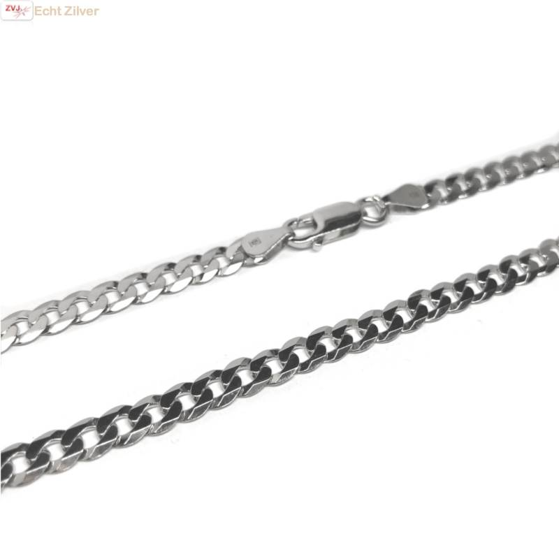 Zilveren platte gourmet ketting 5 mm breed 55 cm lang-3