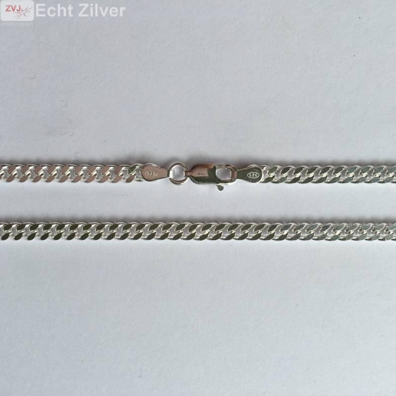 Zilveren gourmet ketting 3.5 mm breed 50 cm lang-3