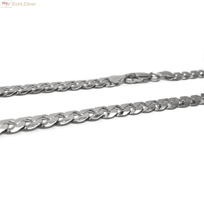 Zilveren platte gourmet ketting 7 mm breed 50 cm lang-3
