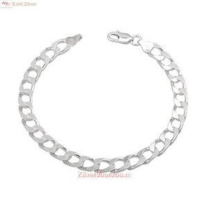 ZilverVoorJou Zilveren heren schakel armband 22 cm, 6.5 mm dik