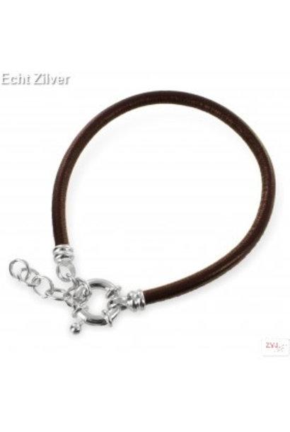 Zilveren musketon ketting sluiting bruin leren armband