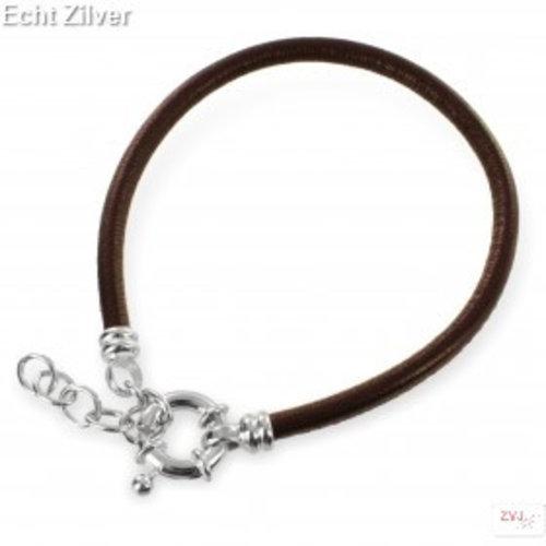 ZilverVoorJou Zilveren musketon ketting sluiting bruin leren armband