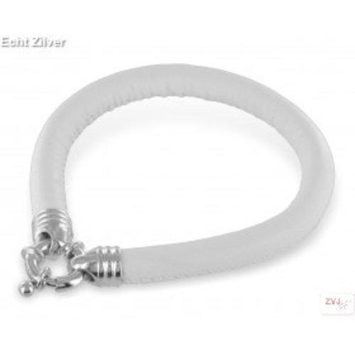 ZilverVoorJou Zilveren musketon sluiting wit nappaleren armband
