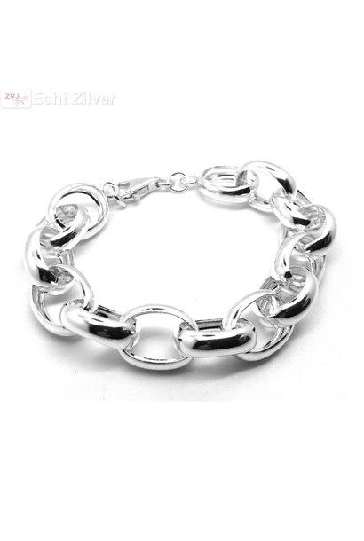 Zilveren grote jasseron armband 15 mm breed