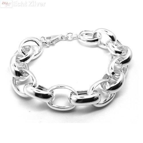 ZilverVoorJou Zilveren grote jasseron armband 15 mm breed