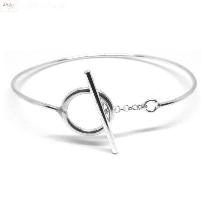 Zilveren toggle armband