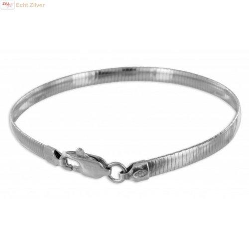 ZilverVoorJou Zilveren omega armband 18cm 4mm