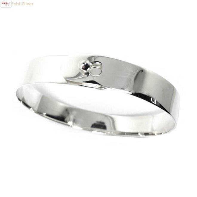 Zilveren strakke bangle armband