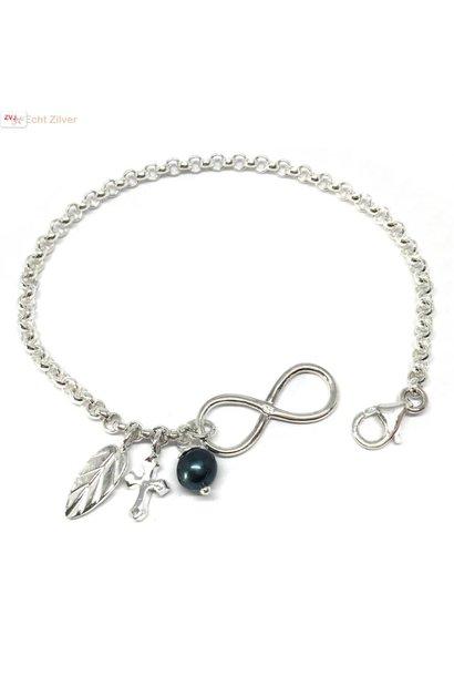 Zilveren infinity armband veer kruis parel bedel