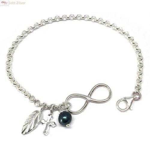 ZilverVoorJou Zilveren infinity armband veer kruis parel bedel