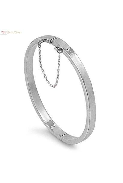 Zilveren ovale slavenarmband 55x60 5mm breed