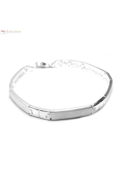 Zilveren Hoogglans mat zilveren armband