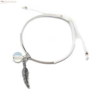 ZilverVoorJou Zilveren wit polyester veer maansteen armbandje