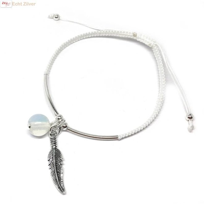 Zilveren wit polyester veer maansteen armbandje