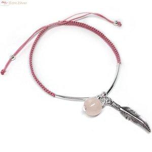 ZilverVoorJou Zilveren roze polyester veer quarts armbandje