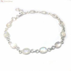 ZilverVoorJou Zilveren armband regenboog maansteen